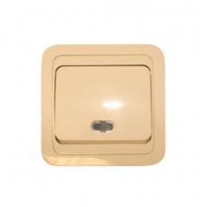 Выключатель Makel Mimoza 1-клавишный крем с подсветкой 25021