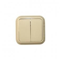 Выключатель Makel открытой установки 2-клавишный крем 45203