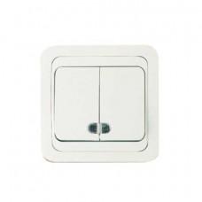 Выключатель Makel Mimoza 2-клавишный белый с подсветкой 12023